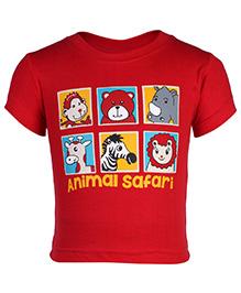 Babyhug Short Sleeves T-Shirt Red - Animal Safari Print