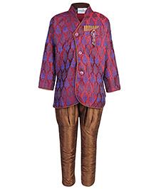 Babyhug Full Sleeve Kurta With Breeches - Self Pattern