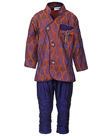 Babyhug Full Sleeve Kurta With Breeches - Self Pattern