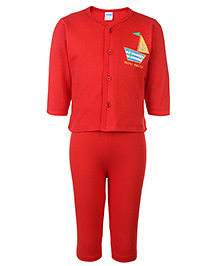 Tango Night Suit Full Sleeves - Red