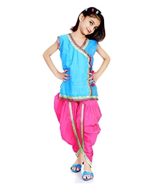 DotnDitto Kurti With Cowl Pants Fusion Style - Pink And Blue