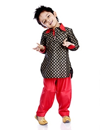 DotnDitto Designer Pathani Kurta Salwar Set - Black and Red