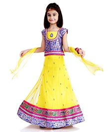 DotnDitto Net Lehenga Choli Set - Yellow And Blue - 2 To 3 Years
