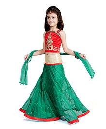 DotnDitto Net Lehenga Choli Set - Green And Red
