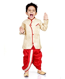 DotnDitto Full Sleeve Sherwani And Dhoti - Cream And Red