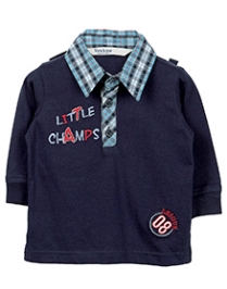 Beebay Check Collar Polo T-Shirt - Little Champs Embroidery - 6 To 12 Months