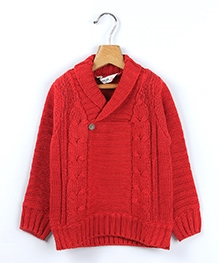Beebay Cable Pattern Collar Sweater - Red