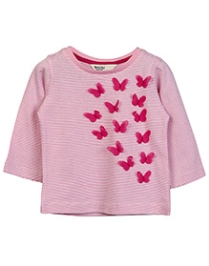 Beebay Butterfly Applique T-Shirt In Stripes - Pink - 12 To 18 Months