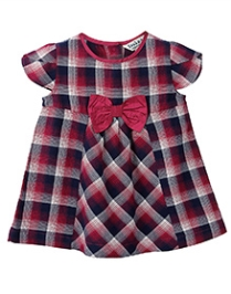 Bow Check Dress Purple Check 6-12M - 6 To 12 Months