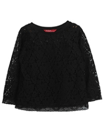 Beebay Full Sleeves Floral Net Top - Black