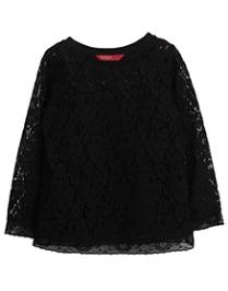 Beebay Full Sleeves Floral Net Top - Black