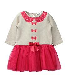 Beebay Frock Bow And Lace Collar - Off White