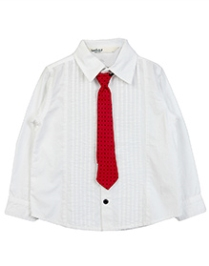 Beebay Full Sleeves Pintucks Shirt With Tie- White