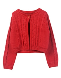 Beebay Full Sleeve Cable Knit Shrug - Red