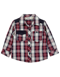 Beebay Corduroy Patch Check Shirt Maroon - Checks - 3 To 6 Months
