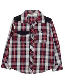 Beebay Corduroy Patch Check Shirt - Maroon