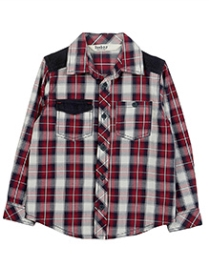 Beebay Corduroy Patch Check Shirt - Maroon