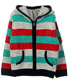Beebay Front Open Hooded Sweater - Stripes