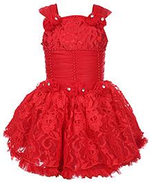 Babyhug Singlet Party Frock Red - Diamond Detail