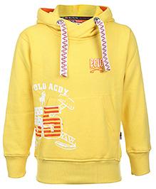 New York Polo Academy Full Sleeve Hooded Sweatshirt - Yellow