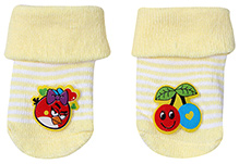 Cute Walk Socks Stripe Print - Angry Bird And Cherry Motif