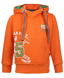 New York Polo Academy Full Sleeve Hooded Sweatshirt - Orange