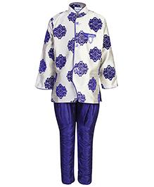 Babyhug Full Sleeves Kurta And Jodhpuri Breeches - Blue