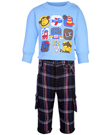 Little Kangaroos T-Shirt And Pant Set - Mulit Print