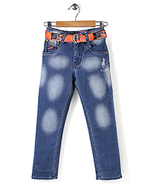 New York Polo Academy Dual Tone Jeans With Belt - 3 To 4 Years