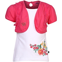 Bells and Whistles Puff Sleeves Tee With Attached Shrug - Floral Print