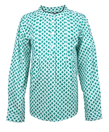 My Lil Berry Full Sleeves Printed Shirt - Green And White
