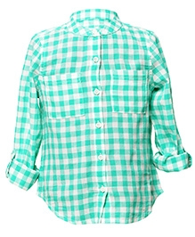 My Lil Berry Full Sleeves White And Green Check Shirt