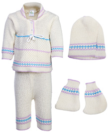 Babyhug Winter Wear Set - Off White