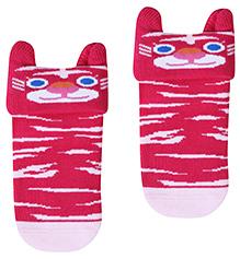 Mustang Socks Fuchsia - Cat Print