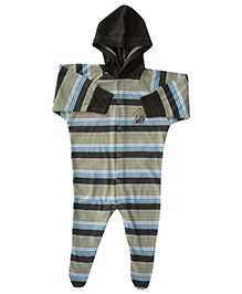 Earth Conscious Full Sleeves Hooded Organic Cotton Romper - Stripe Print - 3 To 6 Months
