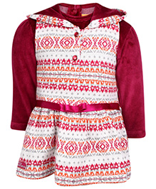 Little Kangaroos Hooded Frock Style Top With Inner T-Shirt - Bandhani Print