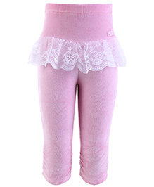 Little Kangaroos Baby Leggings With Lace Work - Pink