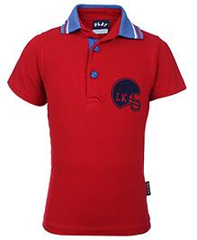 Little Kangaroos Polo Neck T-Shirt - Dark Red