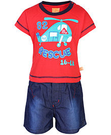 Little Kangaroos T-Shirt And Shorts Set - Helicopter Print