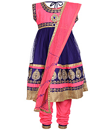 Babyhug Sleeveless Kurta And Chudidaar With Dupatta - Peach and Blue