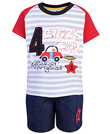 Child World Half Sleeve T-Shirt And Shorts Set - Car Patch