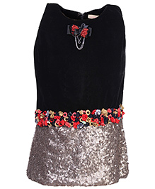 Leo N Babes Sleeveless Party Wear Frock - Sequin Work