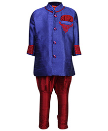 Ethniks Neu Ron Full Sleeves Kurta And Jodhpuri - Blue And Maroon