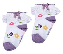 Mustang Socks Purple - Floral Print