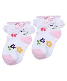 Mustang Socks Light Pink - Floral Print