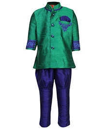 Ethniks Neu Ron Full Sleeves Kurta And Jodhpuri - Green And Royal Blue