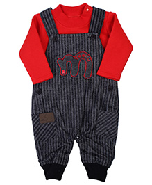 Little Kangaroos Dungaree Style Romper - Teddy Embroidery