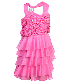 Babyhug Singlet Layered Frock - Floral Rosette With Diamond