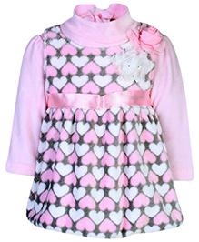 Little Kangaroo Sleeveless Frock With Inner T-Shirt -  Floral Applique
