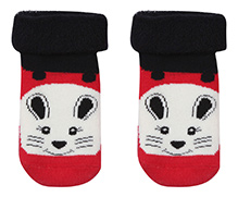Mustang Socks Rabbit Face Print - Red And Black